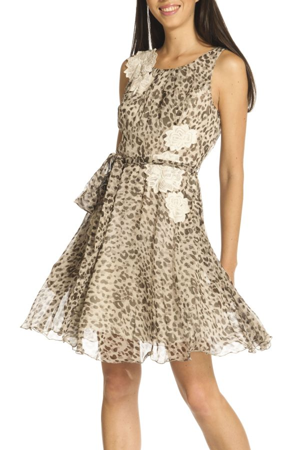 Image 1 - Short dress in printed chiffon with. Dress Pagel couleur  Derhy