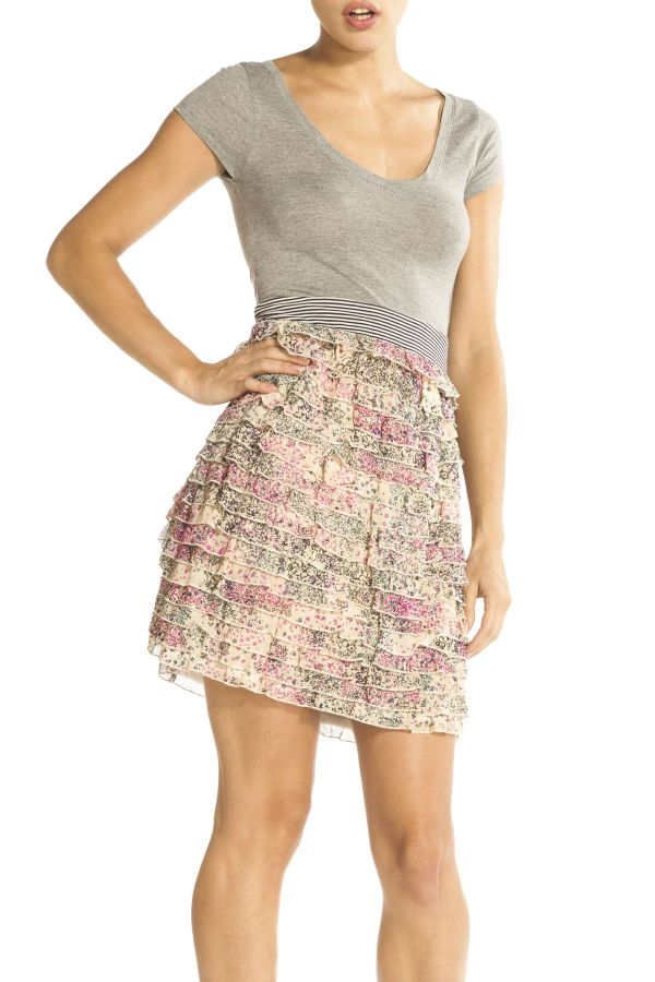 Image 1 - Dress with top part in Grey. Dress Peon couleur  Derhy
