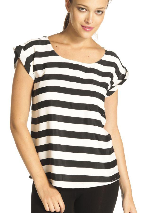 Image 1 - Blouse rayée à manches courtes, petit. Top, blouse Gabardine couleur  Derhy