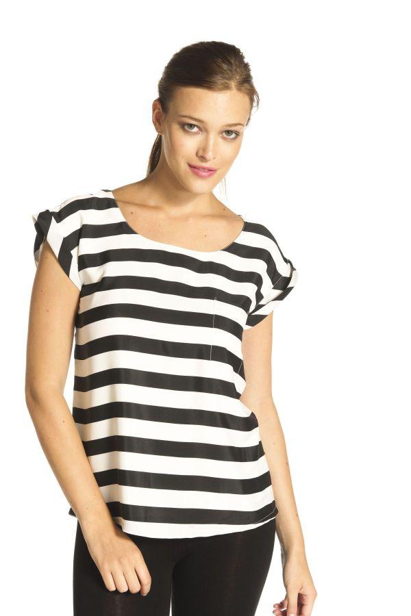 Image 1 - Blouse rayée à manches courtes, petit. Top, blouse Gabardine couleur ecru Derhy