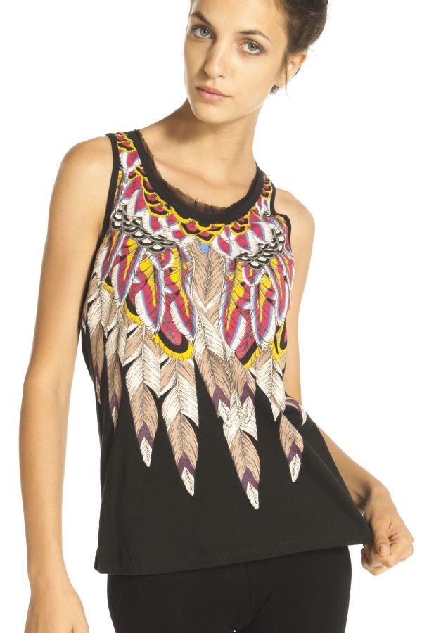 Image 1 - Tee shirt en coton motif à plumes, volant en voile au cou couleur  Derhy