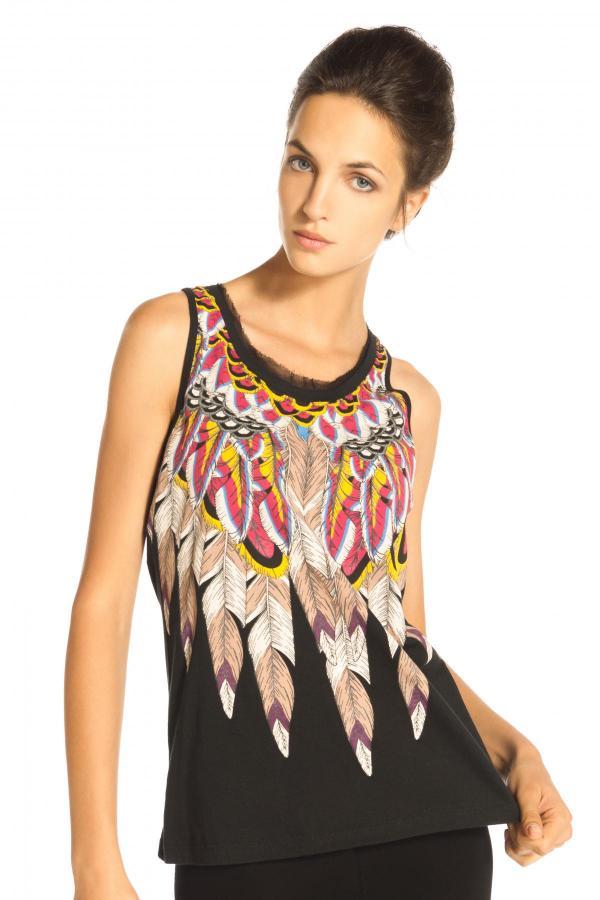 Image 1 - Tee shirt en coton motif à plumes, volant en voile au cou couleur noir Derhy