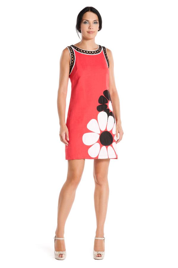 Image 1 - Robe en lin à motifs floral - Robe Fanfare couleur corail Derhy