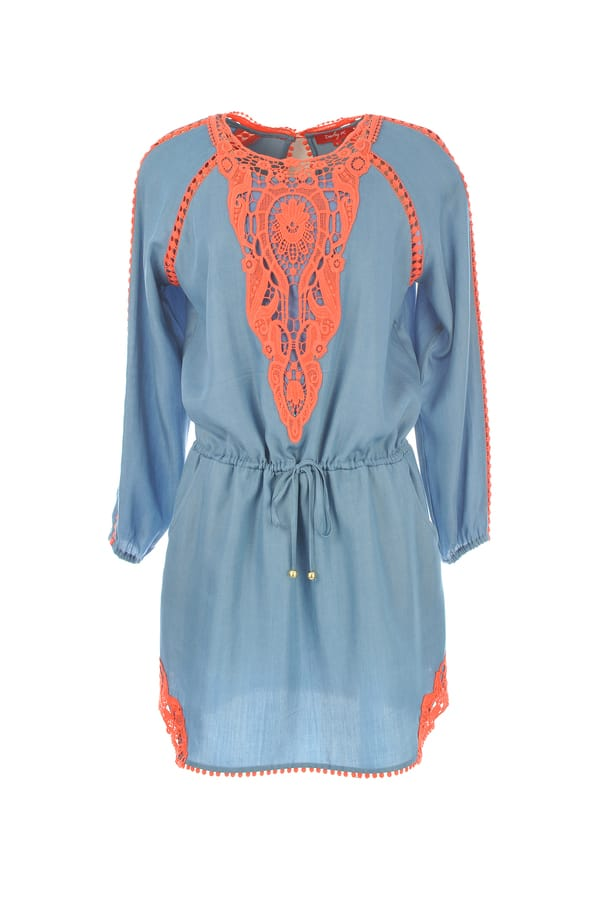 Robe unie originale broderies couleur flashy orange