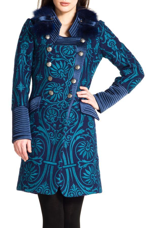 Image 1 - manteau en laine bouillie entièrement brodé. parka Daubenton couleur  Derhy