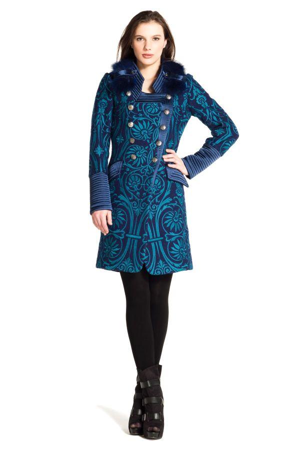 Image 1 - manteau en laine bouillie entièrement brodé. parka Daubenton couleur marine Derhy