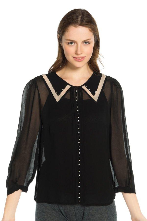 Image 1 - Blouse en mousseline unie, manches mi-longues. couleur noir Derhy