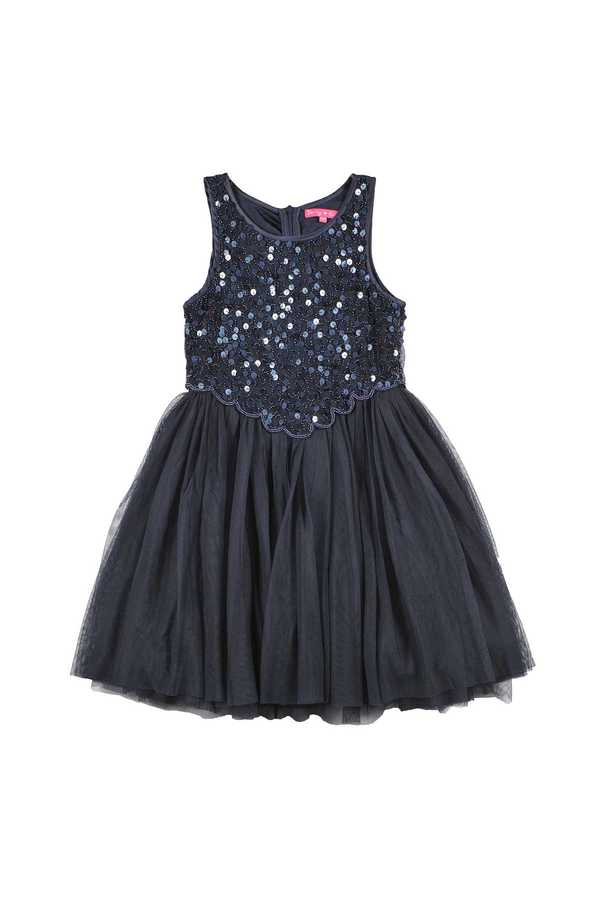 Robe tutu en tulle. Crop-Top rebrodé de sequins