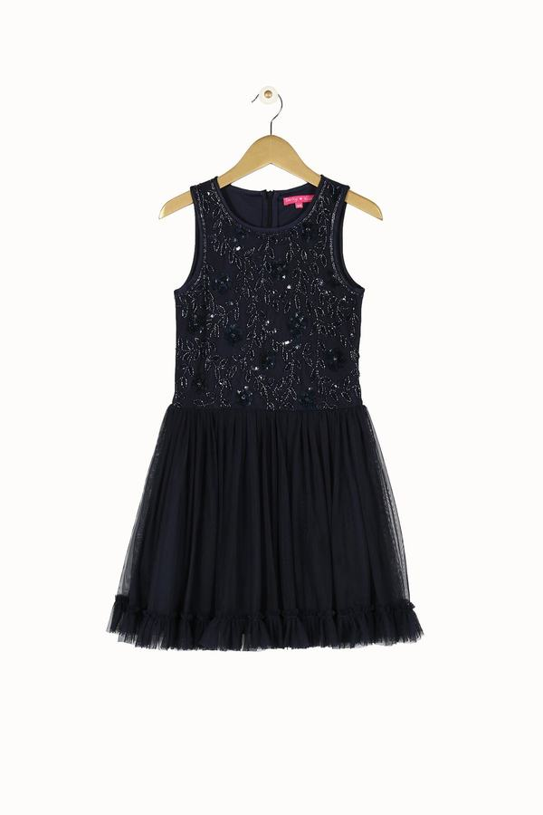 Robe crop top sequin et froufrou