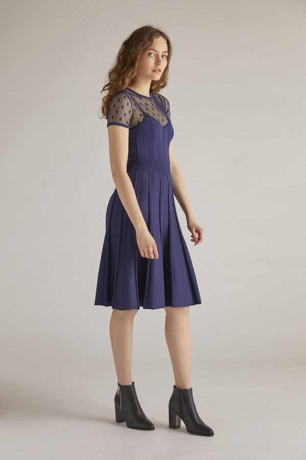 Robe patineuse en maille jacquard et tulle plumetis.