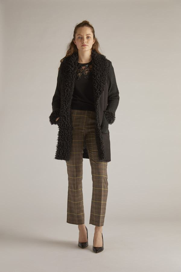 Long cardigan en maille fantaisie mixée