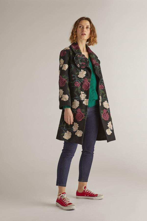 Manteau long broderies fleurs- Baviere