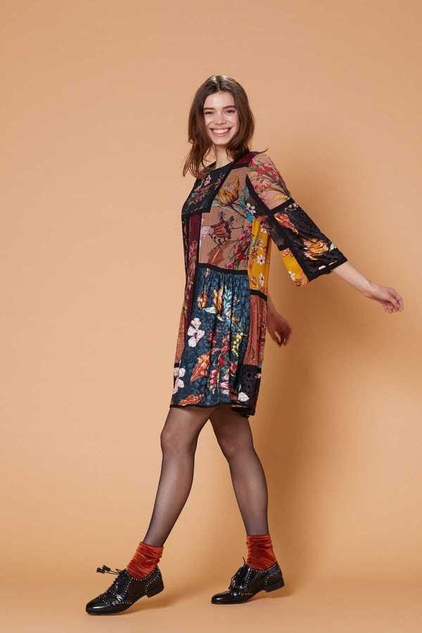 Robe patchwork imprimés - Blues