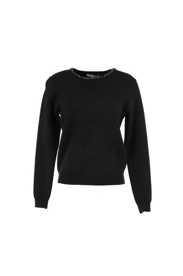 Pull maille avec broderie perles - Effectif