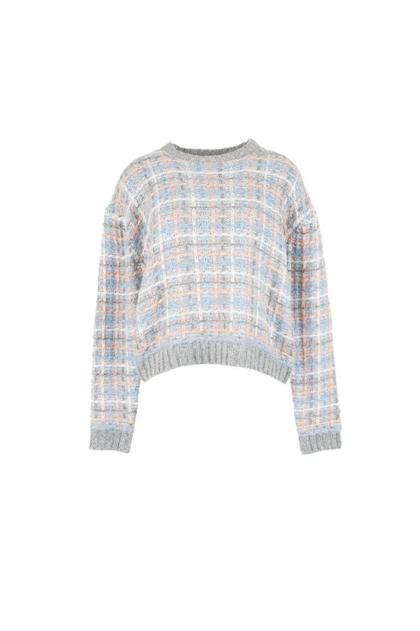 Pull manches longues et col rond façon tweed - Electron