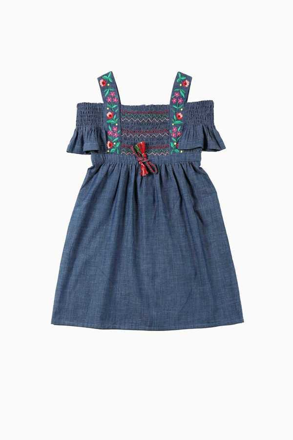 Robe en denim avec broderies fleuries