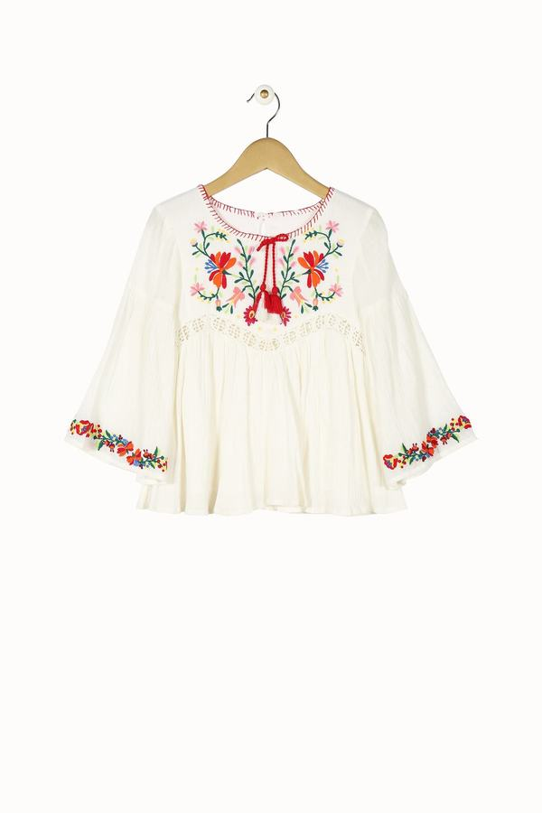 Blouse blanche manches amples Derhy Kids, broderies fleuries.