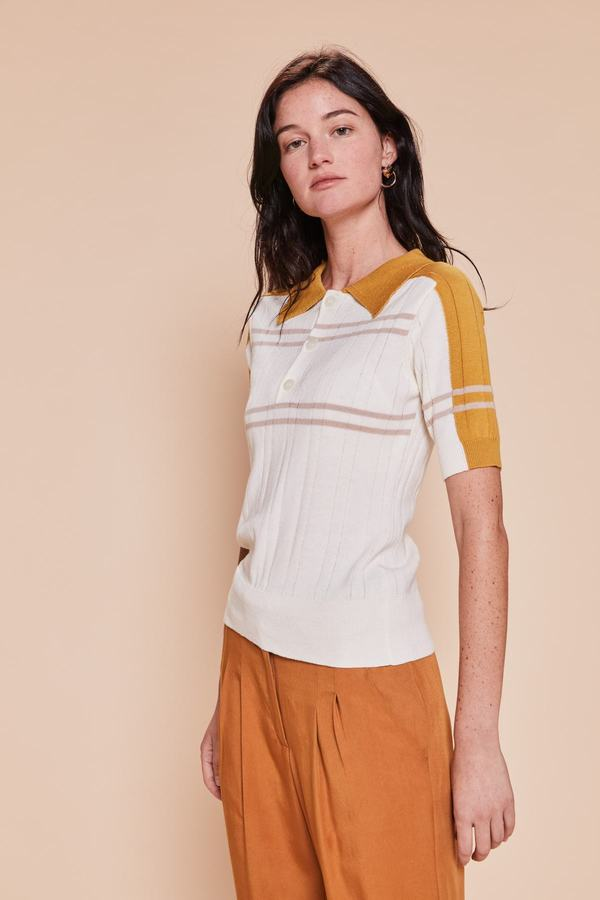 Pull manches courtes forme polo - HACIENDA