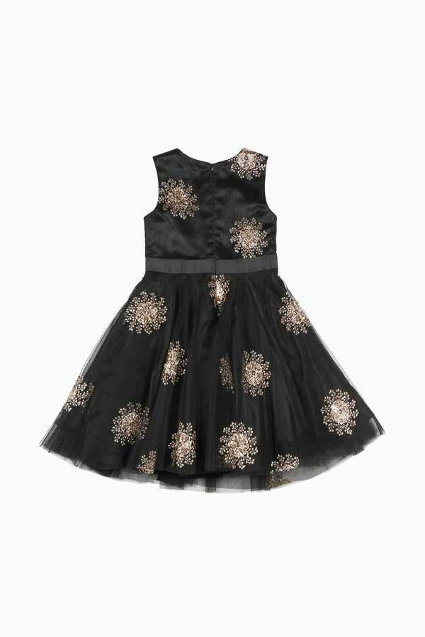 Robe fête enfant fille noir broderies or DERHY KIDS