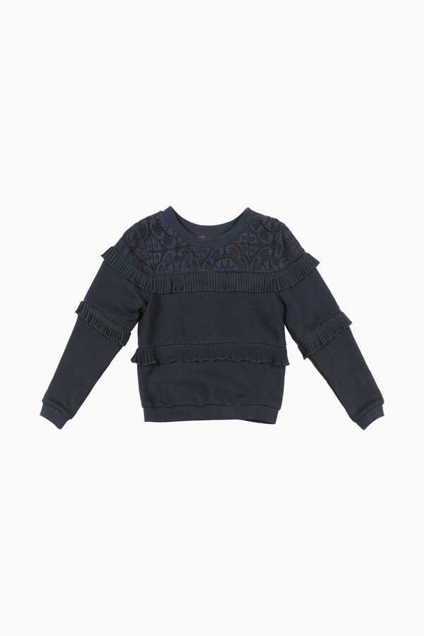 Pull sweat volants et dentelle enfant fille DERHY KIDS