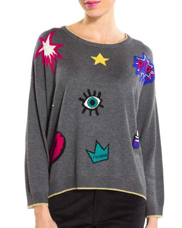 Pull fin oversize, patchs pop-art.